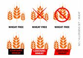 picture of wheat-free  - Brown Vector Wheat Free Signs isolated on white background - JPG