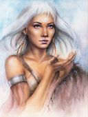 Beautiful Airbrush Portrait Of A Young Enchanting Woman Warrior With Feathers White Shiny Hair And A