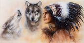 Beautiful Airbrush Painting Of An Young Warrior Accompanied With Two Wolves