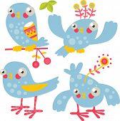 vector cute cartoon flat birds set of 4