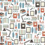 seamless pattern with books icons on white background