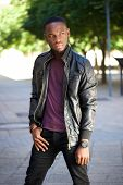 Cool Black Man In Leather Jacket