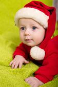 Christmas little baby boy with Santa hat