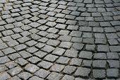 Stones cobblestones on Prague street.