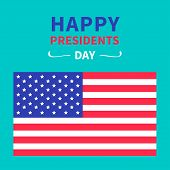 American Flag Presidents Day Blue Background Flat Design Card