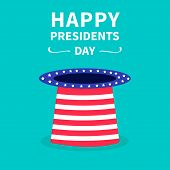 Hat With Stars And Strip. Presidents Day Background Flat Design