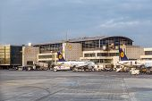Terminal 1 In Sunset With Lufthansa Aircraft In Frankfurt
