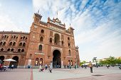 Plaza De Toros De Las Ventas With Tourists Gathering For The Bull Show In Madrid