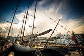 Beautiful marina view, sailboats and motorboats in port