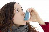 picture of inhalant  - Asthma woman using asthma inhaler - JPG