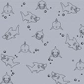 Laughing shark swim in the ocean