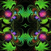 Flower Pattern In Fractal Design. Purple And Green Palette. On Black. Computer Generated Graphics.