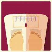 stock photo of flat-foot  - Bathroom weight scales with feet flat design vector illustration - JPG