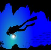 silhouette of diver on the seabed