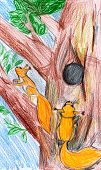 squirrel on a tree. child drawing