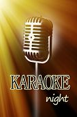 Retro microphone on color background, Karaoke night concept
