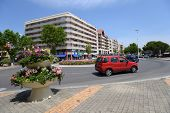 ARCACHON, FRANCE - JUNE 27, 2013: Traffic on the Boulevard du General Leclerc. Arcachon was found in 1857, and is known for the