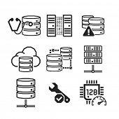 Servers & Databases icons set // BW Black & White