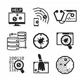 Computer Anti Virus icons set // BW Black & White
