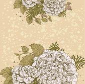 Magic Flowers Dream Vintage Beige Background