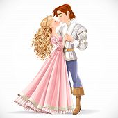 Romantic Scene Of A Fabulous Prince And Princess Kiss Isolated On A White Background
