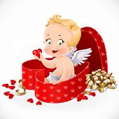 Cute Cupid Sitting In A Gift Box In Heart Shape Isolated On A White Background