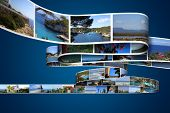 vacation photos on blue background