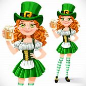 Beautiful Girl Leprechaun Offers A Beer  Isolated On A White Background