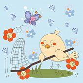 Bird catching Butterflies