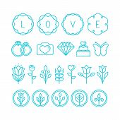 picture of ring-dove  - Vector love and wedding linear icons and design elements  - JPG