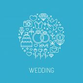 Vector Wedding Emblem In Outline Style