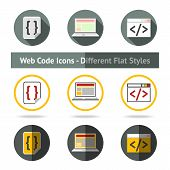 Set of Web Code icons in different flat styles. Vector