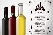 Menu template - for alcohol with three realistic wine bottles