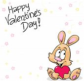 Valentines Background With Flowers And Cute Bunny Holding Heart
