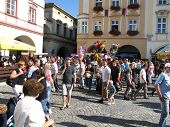 Crowd Of People On The Novy Jicin's Square Fair