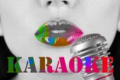 Woman and retro microphone, karaoke concept