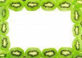 Frame Of Fresh Kiwi Fruit Slices Isolated On A White