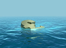 pic of wallow  - A 3D render of pound symbol sinking or wallowing - JPG