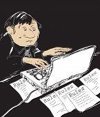 pic of restriction  - Sketch of a bureaucrat - JPG