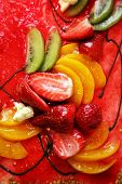 image of fruit platter  - Piece of a pie with fruit close up - JPG