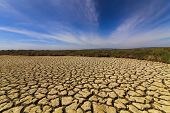picture of drought  - Dry cracked earth under the blue sky - JPG