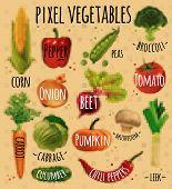 stock photo of leek  - Pixel vegetables corn - JPG