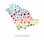 picture of saudi arabia  - dotted texture Saudi Arabia vector background on white - JPG