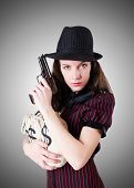 pic of handgun  - Woman gangster with handgun on white - JPG