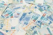 stock photo of twenty dollars  - Background of Hong Kong twenty dollar bills - JPG