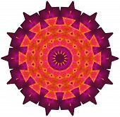 stock photo of spike  - Multi colored ornamental pattern in spiked round shape - JPG