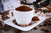 picture of coffee grounds  - Ground coffee rests in a ceramic Cup - JPG