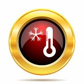 image of fahrenheit thermometer  - Snowflake with thermometer icon - JPG
