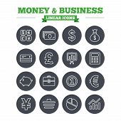 stock photo of currency  - Money and business linear icons set - JPG