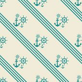 stock photo of ship steering wheel  - seamless pattern of anchors and ship steering wheels  - JPG